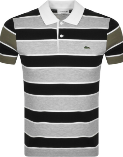 Lacoste Striped Short Sleeved Polo T Shirt Black