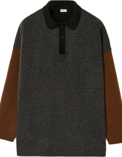 Polo sweater in wool and cashmere