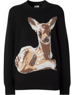 Wool pullover with deer