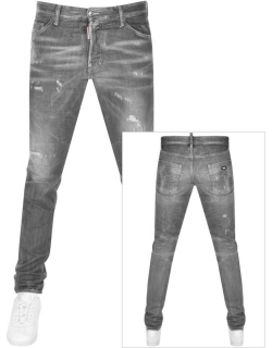 DSquared2 5 Pockets Ripped Jeans Grey