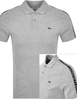 Lacoste Taped Logo Polo T Shirt Grey