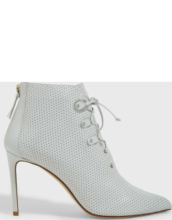 Francesco Russo Perforated Lace-Up Leather Boots,