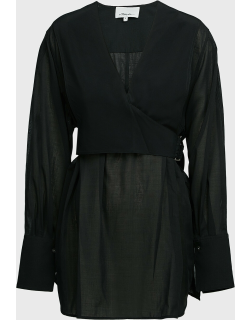 3.1 Phillip Lim Wrap-Over Belted Voile Blouse,