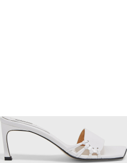 Reike Nen Side-Knot Square-Toe Leather Mules, FR39.5