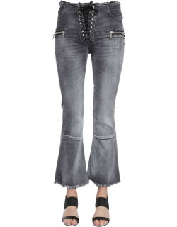 unravel laceup flare cropped jeans