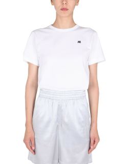 helmut lang cropped t-shirt with flocked logo