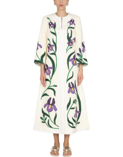 tory burch caftan with iris embroidered