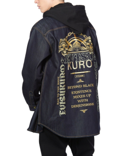 Mixed Embroidery Denim Jacket with Detachable Hood