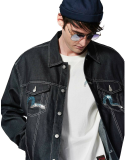 Gradient Seagull Unisex Denim Jacket embellished with Crystals by Preciosa