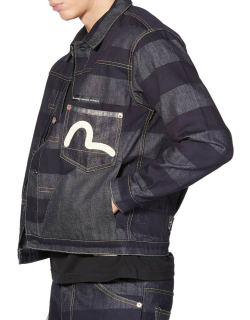 Hand-painted Seagull Striped Denim Jacket