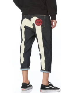 Cropped-fit Denim Jeans with Brushstroke Daicock and Kamon Print