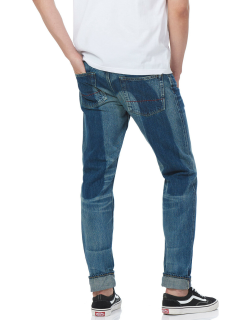 Carrot-fit Selvedge Denim Jeans with Washed Daicock