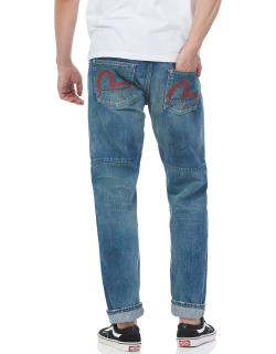 Wide-tapered Selvedge Denim Jeans with Hand-painted Bloody Seagull
