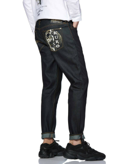 2017 Carrot-fit Denim Jeans with Brunshed Hannya and Mixed Graphics