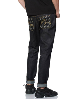 2017 Carrot-fit Denim Jeans with Foiled Monogram Print