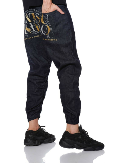 Jogger Jeans with Kamon and Brush Effect Logo Embroidery