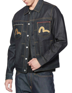 Shiny Daicock and Seagull Embroidered Denim Trucker Jacket