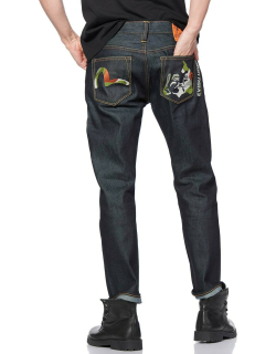 Camouflage Seagull and Godhead Embroidered 2010 Slim-fit Cropped Jeans