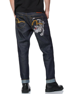 Tiger and Seagull Embroidered 2017 Carrot-fit Cropped Jeans