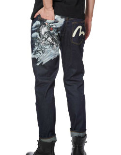 Tiger and Seagull Print 2017 Carrot Fit Cropped Jeans
