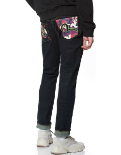 Stretch Skinny-fit Jeans with Camouflage Printed Pockets