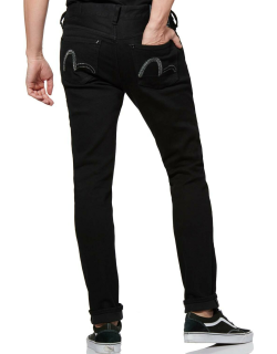 Skinny-fit Denim Jeans with Lurex Seagull Embroidery