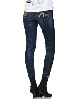 Skinny-fit Jeans with Kamon and Seagull Embroidery