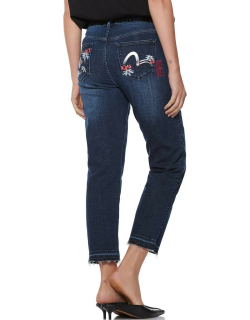 Robotic Floral Print Straight Cropped Jeans