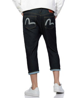 Curb Chain Seagull Embroidered 2027 Cropped-fit Denim Jeans