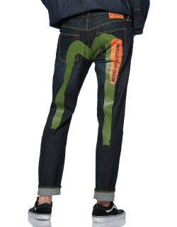 Brushstroke Daicock Printed 2023 Stretch Skinny-fit Cropped Jeans