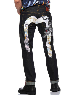 Landscape Ink-painting Daicock with Tiger Embroidery 2010 Slim-fit Jeans