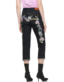 Floral Daicock and Logo Embroidered Straight-legged Jeans