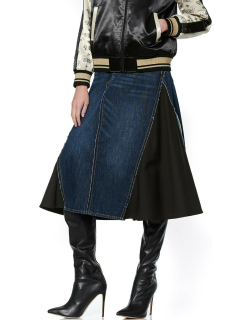 A-line Denim Skirt with Fabric Side Inserts