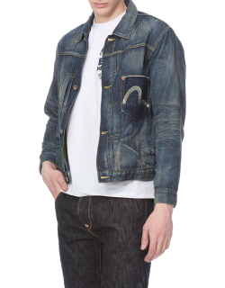 Denim Jacket with Hand-painted Seagull