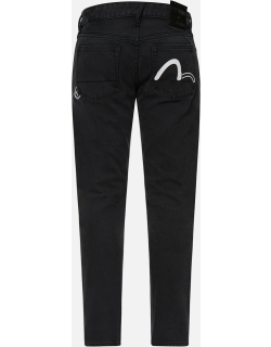 Slashed Seagull Print Cropped Slim Fit Jeans