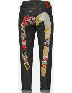 Contrast Pattern Daicock Embroidered Carrot Fit Jeans #2017