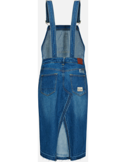 Seagull Embroidered Denim Dungaree Dress