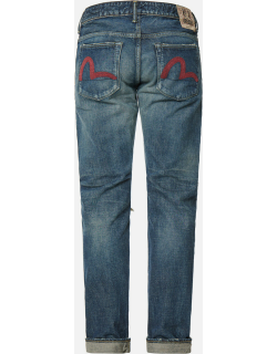 Seagull Embroidered Carrot Fit Selvedge Denim Jeans #2017