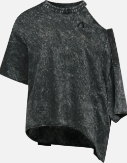Pigment-dyed Satin Blouse with Cut-out Collar
