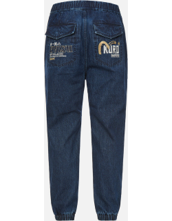 Cast Shadow Effect Logo Embroidered Cropped Straight Fit Jeans