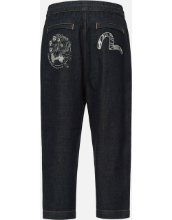 Raijin and Paper-cutting Seagull Embroidered Wide Leg Jeans