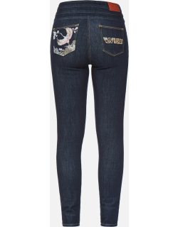 Crane Embroidery and Logo Appliqué Skinny Jeans
