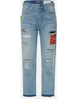 Woven Label Ripped Relaxed Fit Jeans