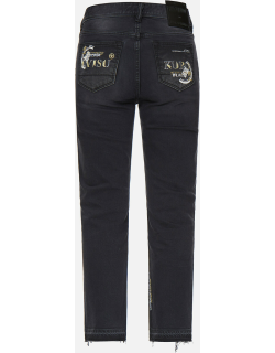 Slashed Kamon and Logo Embroidered Cropped Straight Fit Jeans