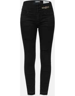 Chain and Logo Embroidered Skinny Jeans