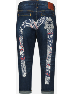 Festival of Wishes Patterned Daicock Cropped Jeans #2027