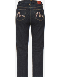 Brocade Seagull Embroidered Straight-cut Jeans