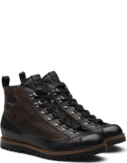 Church's Vintage Calf & Suede Lace Up Boot Man Black/anthracite