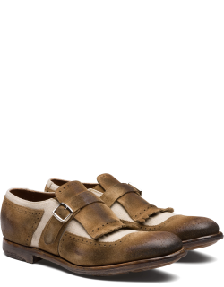 Church's Suede And Linen Buckle Loafer Man Sigar & Ecru