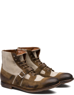 Church's Suede And Linen Lace-up Boot Man Sigar & Ecru